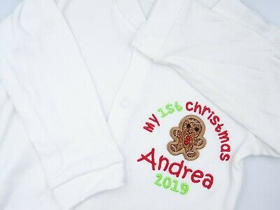Personalised Embroidered GINGERBREAD APPLIQUE 1ST CHRISTMAS BABY BIB VEST TSHIRT