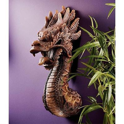 Medieval Fantasy Handcarved Fierce Dragon Wall Sculpture Asian Beast