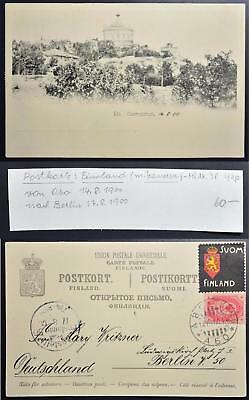 FINLAND 1900, $60, RARE Abo Space Observatory PPC+Mourning Label > GERMANY,Suomi