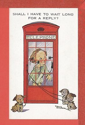 PHYLLIS COOPER girl in telephone box waiting for reply & 3 dogs pb: M. & L. 1018