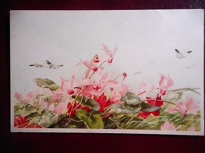 Carte Postale Ancienne Catharina Klein - Cyclamens - Papillons