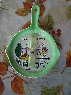 Vintage Elvin Japan Skillet Hourglass Kitchen Egg Timer