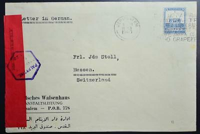 PALESTINE Israel, SUISS 1940 Syria Orphanage British Mandate Cens Cover to SWISS