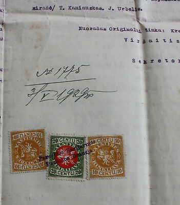 Lithuania, revenue stamps on document, 1929, Panevezys- Krekenava