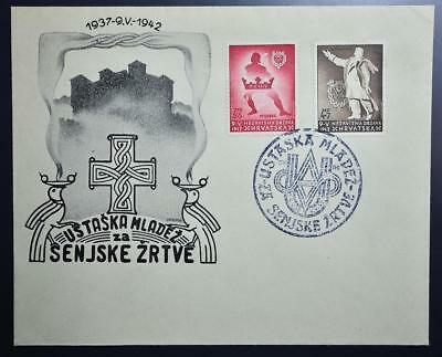 CROATIA NDH Puppet State 1942 Cpl USTASE Soc Set on RARE Cover/FDC ,Yugoslavia