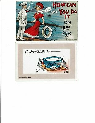 """2 Card Comic Lot, Artist-Signed Dwig, """"How Can You Do It"""", Congrats on New Baby!"""