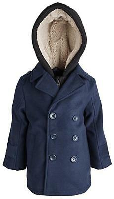 London Fog Toddler Boys Navy Blue Hooded Faux Wool Pea Coat Size 2T 3T 4T