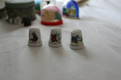 3 China Thimbles With Butterflies