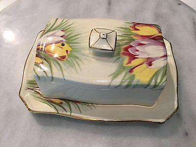 Royal Winton Grimwades rectagular covered butter dish in CROCUS pattern