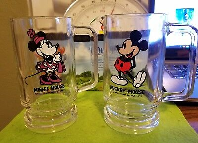 Disney Glass Cup Beer Stein Lot Vintage Mickey Minnie Mouse