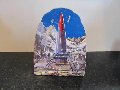 Vintage SH S H Japan Battery Operated Cardboard Rocket Spaceship Works!!!