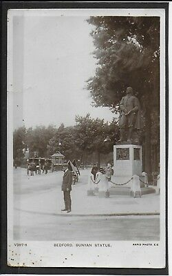 BEDFORD  BUNYAN STATUE Real Photo postcard 1911 BEDFORD  Religion+ pipe+ fashion
