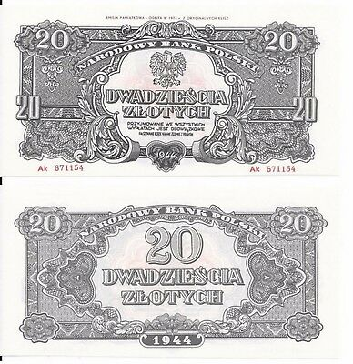 20 Zlotych, Poland,1944,reprint 1974,unc