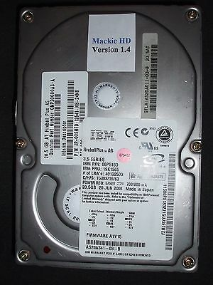 Mackie HDR Internal Hard drive 20.5 GB Version 1.4 Installed Tested & Formatted