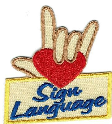 Girl Boy Cub ASL AMERICAN SIGN LANGUAGE Patches Crests Badges SCOUT GUIDE Iron
