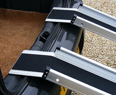 """5ft x 6"""" Channel Folding Telescopic Ramps Long Landing Lip Reaches Over Bumpers"""