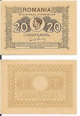 20 Lei,ministry Of Finance,romania,1945,aunc