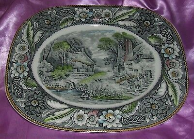 Vintage Woodland multicolor large Meat plate by Wood and Sons Burslem England