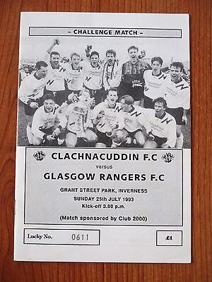 Clachncuddin v Rangers football programme 1993 - Pre season friendly