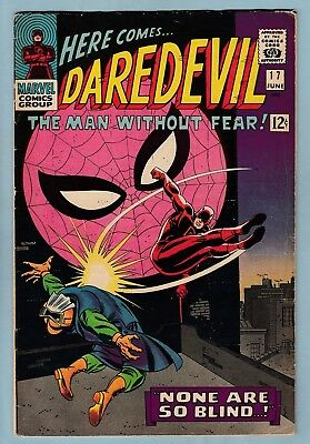 Daredevil # 17 Vg+ (4.5)  Spider-Man Cross-Over - Solid Us Cents Copy - 1966