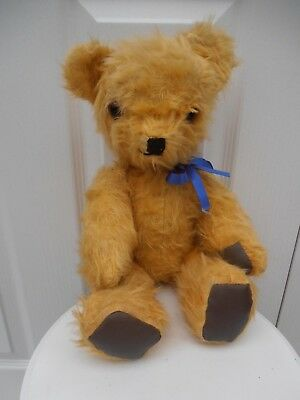 Old Vintage Straw Filled Jointed Teddy Bear Unknown Maker