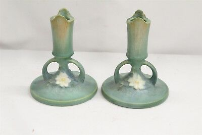 Pair Vintage Arts Craft Roseville Flowers Green Pottery Candlesticks 1137-4 1/2
