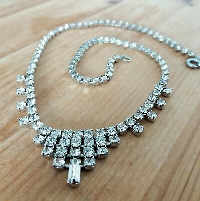 Beautiful Vintage 1950's Clear Crystal Cocktail Necklace!! 15""