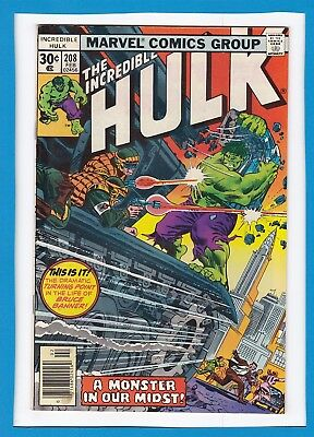 "Incredible Hulk #208_February 1977_F/vf_""a Monster In Our Midst""_Bronze Age!"