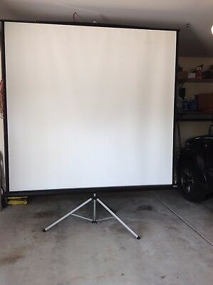 """Da-Lite Adjustable Tri-Pod Projection Screen 84"""" x 84"""" and Project-O-Stand table"""
