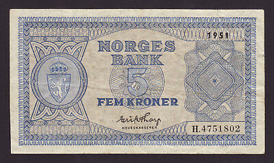 NORWAY  -  5 kroner,1951  -  P 25d  -  VF - aVF