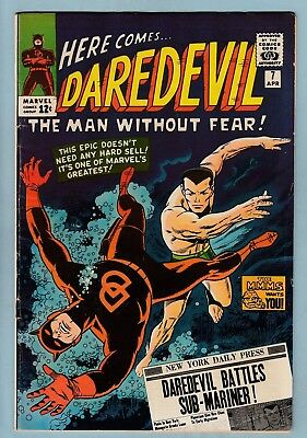 DAREDEVIL # 7 VG+  1st RED COSTUME APPEARANCE- SUB-MARINER BATTLE_1965_CENTS KEY