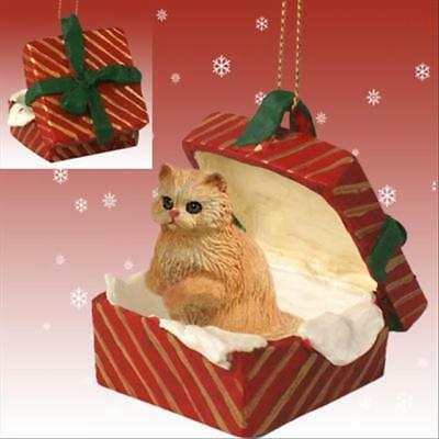 Persian Red CAT RED Gift Box Holiday Christmas ORNAMENT