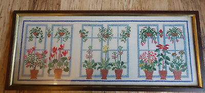 vintage  hand embroidered flower window picture 14x6 inches