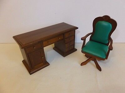 Dolls House Study Furniture - Desk & Chair - Boxed