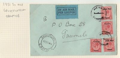 South West Africa 1931 Kgv Airmail Cover Grootfontein - Taumeb