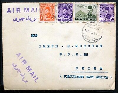 Egypt Port Said 1946 Air Mail Cover To Mozambique Beira.  A34