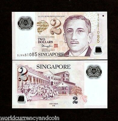 Singapore 2 Dollars 2017 Polymer 10 Bundle ** Star Unc Currency Money 1,000 Note