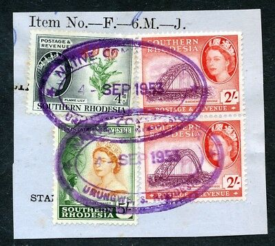 S.rhodesia 1953 Qeii Issue To 5/ On Piece Oval Native Urungwe Cds.scarce !  A39