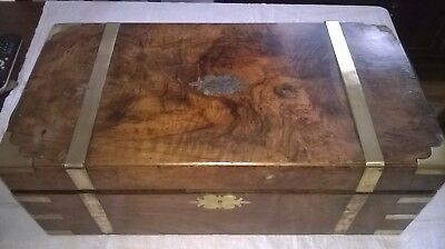 Antique Victorian Large  Walnut And Brass Writing Slope Box. 1860-1880's