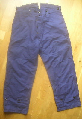"Vintage FRENCH WORKWEAR CHORE BLEU TRAVAIL SUSPENDERS PANT 34"" Trousers"