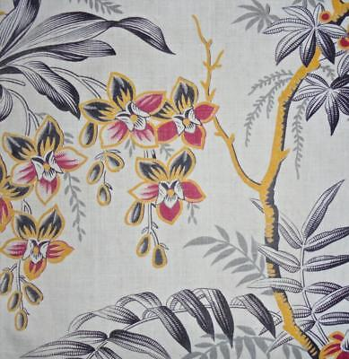 BEAUTIFUL FRAGMENT 19th CENTURY FRENCH LINEN INDIENNE c1850s, ORCHIDS