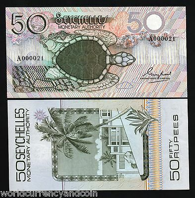 Seychelles 50 Rupees P25 1979 Low # Turtle Unc Parrot Currency Africa Bill Note