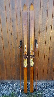 "BEAUTIFUL ANTIQUE HICKORY Wooden 83"" Long Skis Original Finish + Poles"