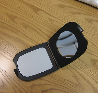 Foldaway Hand Held Travel Make-Up Mirror Compact incl.Magnifying Open Shut Black