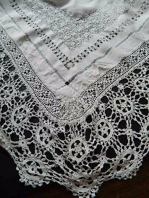 Antique large white Irish linen tablecloth crochet lace & elaborate drawnthread
