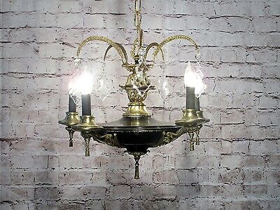 Antique Vintage Chandelier Brass French Empire Pan Fixture Pendant