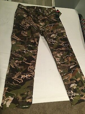 NWT $89.99 Under Armour Mens Ridge Reaper Forest Covert Camo Pants 34W / 32L