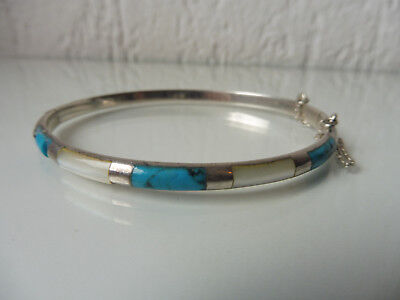 Beautiful, Old BRACELET__925 Silver__WITH TURQUOISE AND PEARL ___