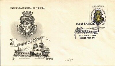 Dr Jim Stamps 350Th Anniversary Cordoba University Fdc Argentina Cover 1964