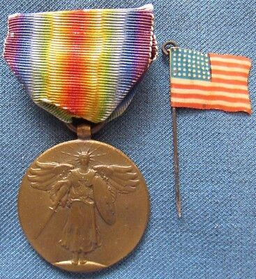 US WWI Victory Medal with 48-star National Colors celluloid lapel pin